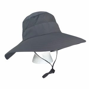 Outdoor hat sun protection wide brim vented gray